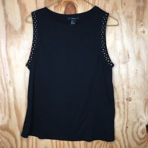 Forever 21 studded sleeve black tank top small